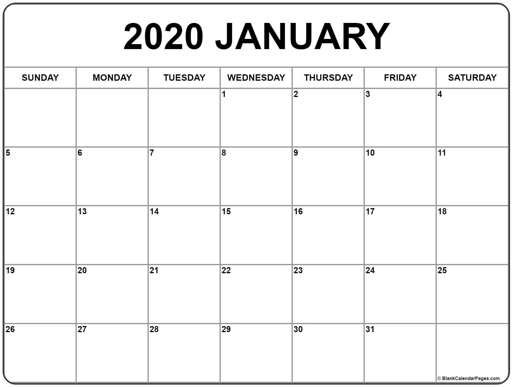 January 2020 Calendar Printable (With Images)   Monthly 8 Week Calendar Doc