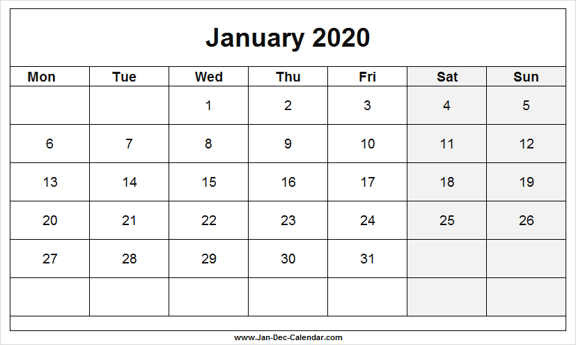 January 2020 Calendar With Notes Section | White Calendar Calendar Template With Notes Section