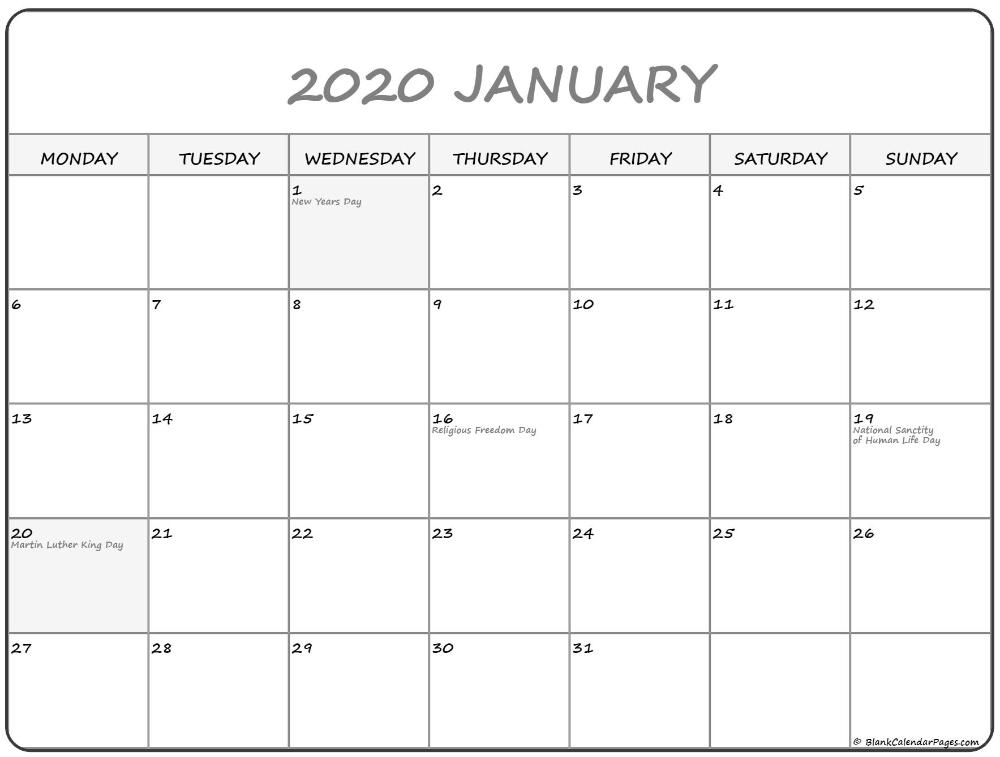 January 2020 Monday Calendar | Monday To Sunday | Calendar Saturday Thur Friday Schedule