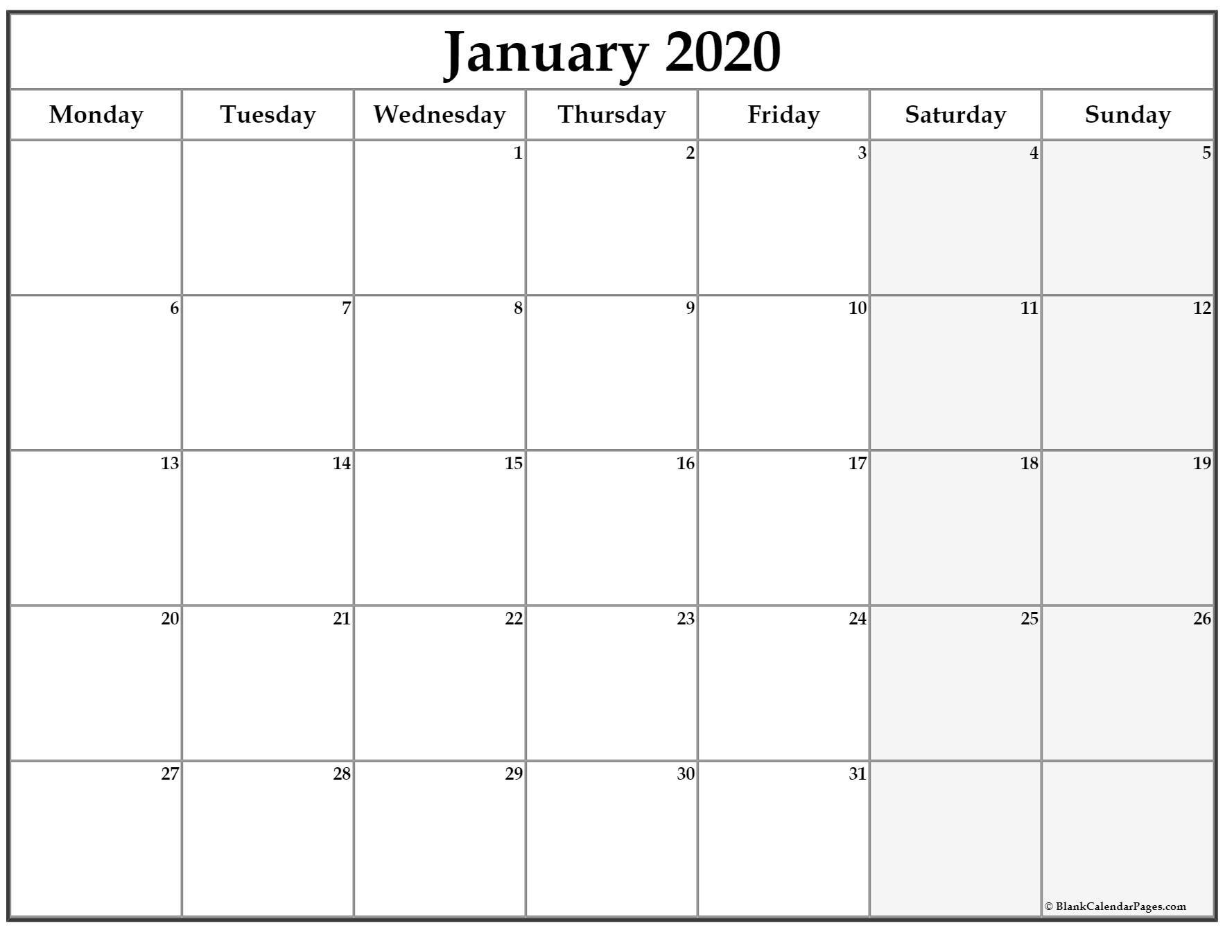 January 2020 Monday Calendar | Monday To Sunday Free Printable Monday Thru Sunday Calendars