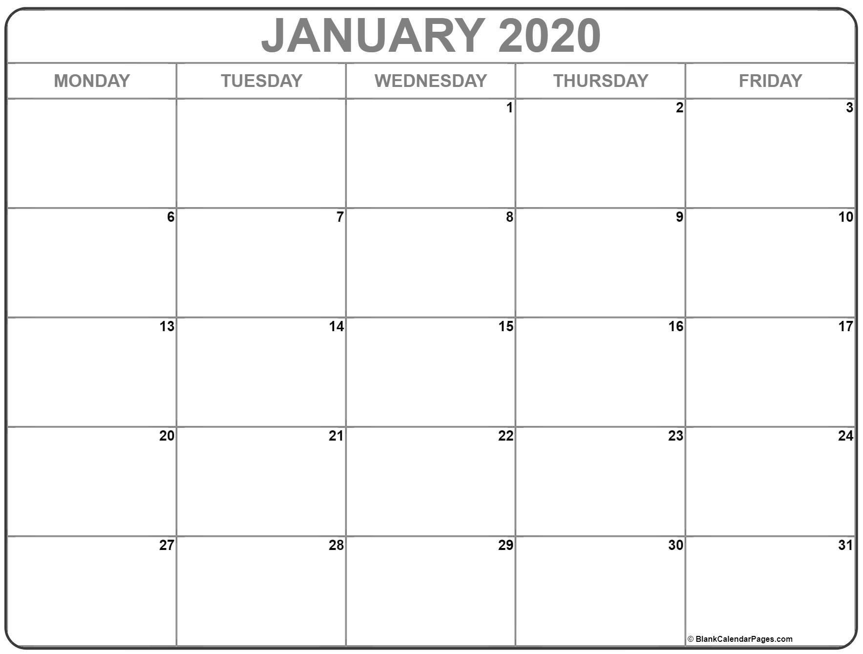 January 2020 Monday Calendar   Monday To Sunday Monday Thru Friday Printable Calendar