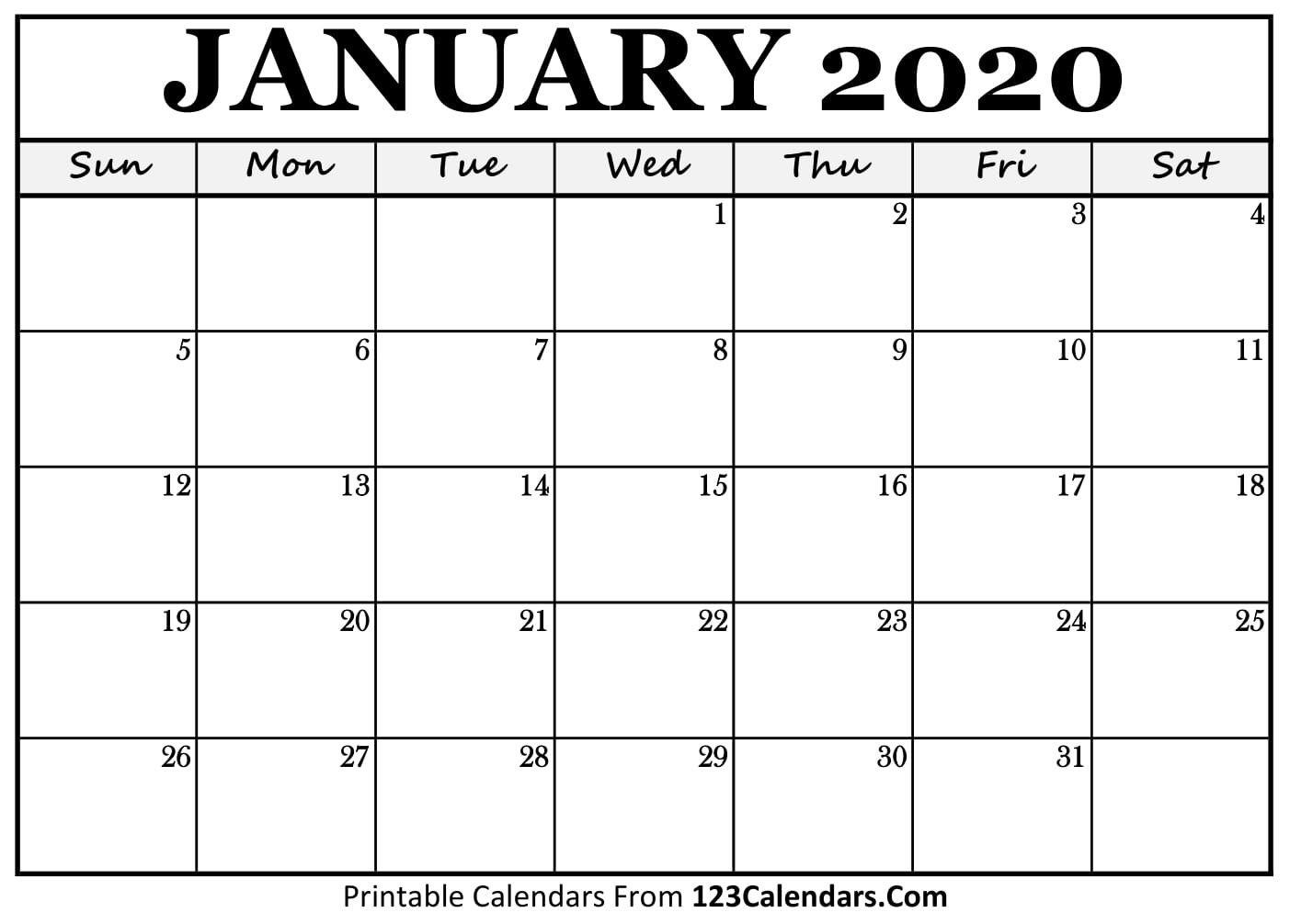 January 2020 Printable Calendar   123Calendars Blank Calendars To Fill In Online