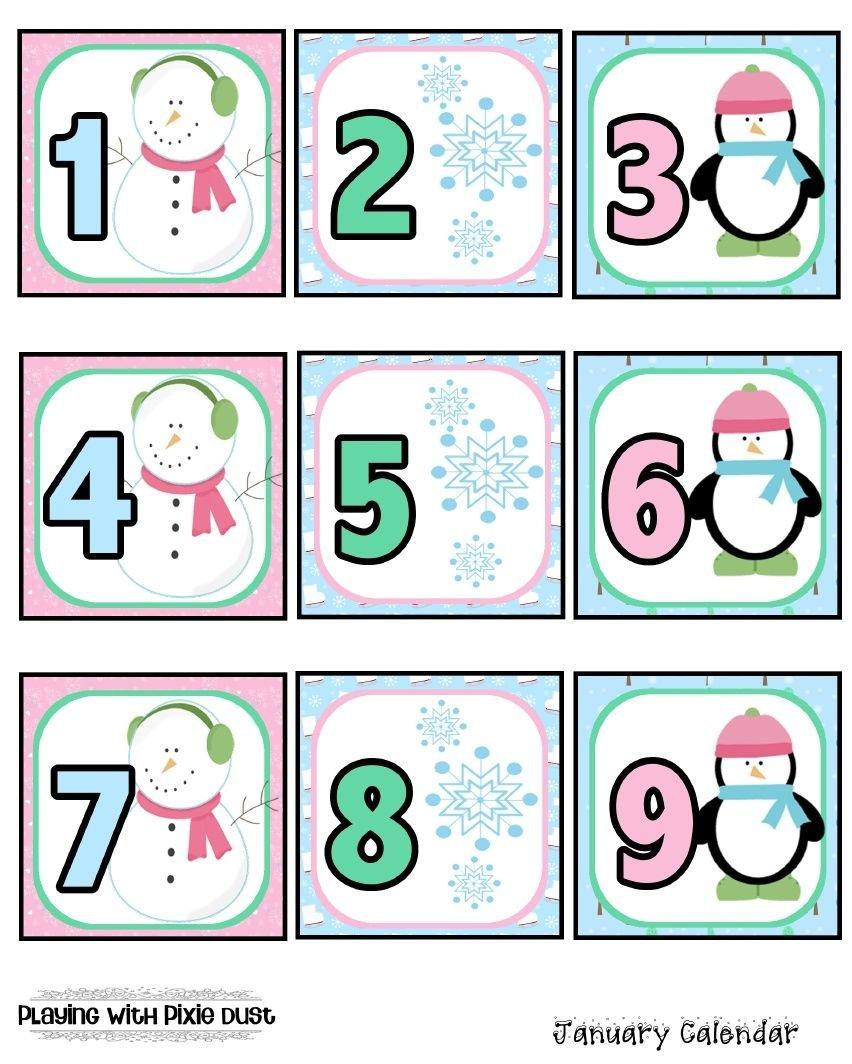 January Calendar Pcs. | January Calendar, Preschool Printable Numbers 1 31 Classroom Sets