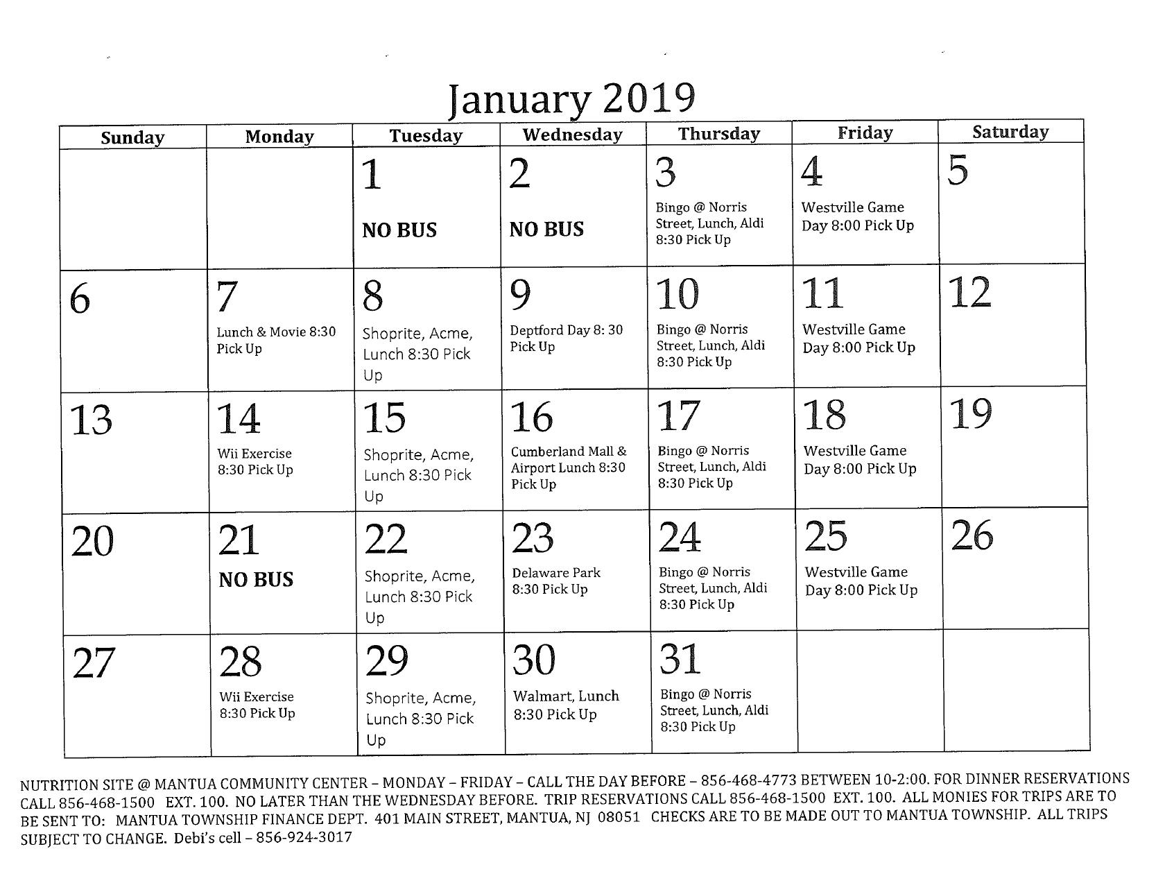 January Senior Calendar – Mantua Township Content Calendar For Member Newsletters