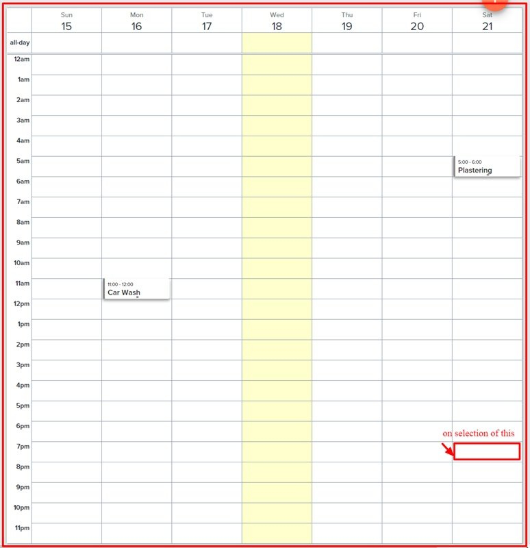 Javascript – Full Calendar: On Click Of Time Slot Wrong Month Calendar With Time Slots