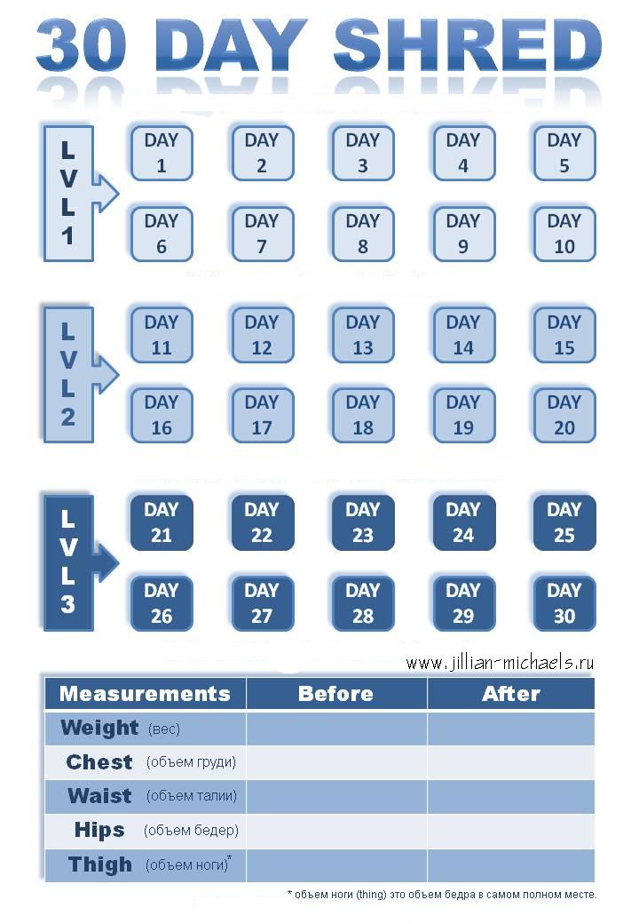 Jillian Michaels 30 Day Shred Calendar   30 Day Shred 30 Day Shred Countdown Printable Free