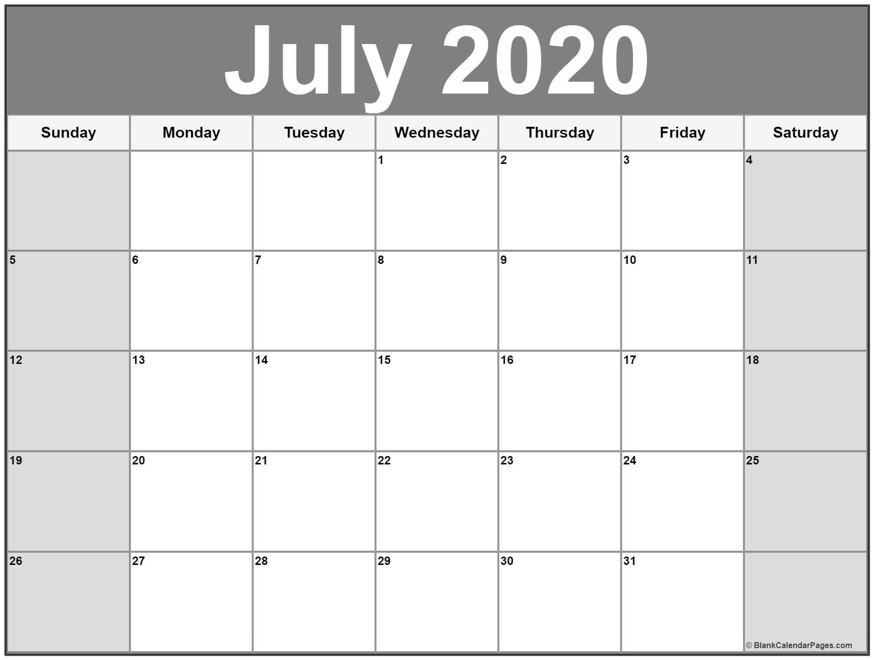 July 2020 Calendar | Free Printable Monthly Calendars Image Of Month Calendar