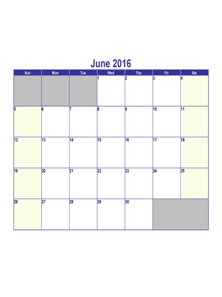 June 2016 Calendar Template – Edit, Fill, Sign Online How To Fill June Calendar