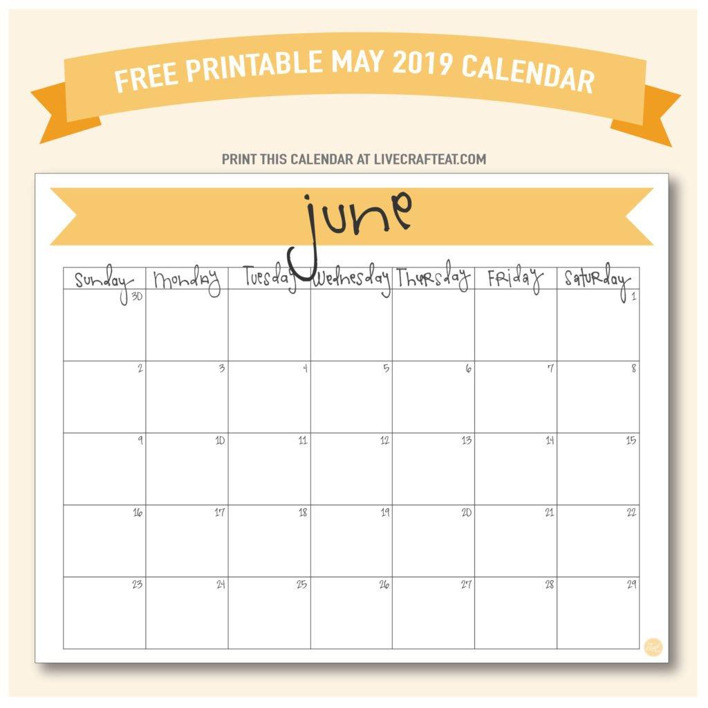 June 2019 Calendar – Free Printable | Live Craft Eat Fill In June Calendar