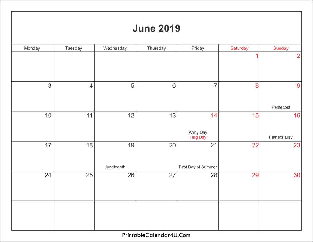 June 2019 Calendar With Holidays #June #June2019 # Calender You Cann Edit With Holidays On It