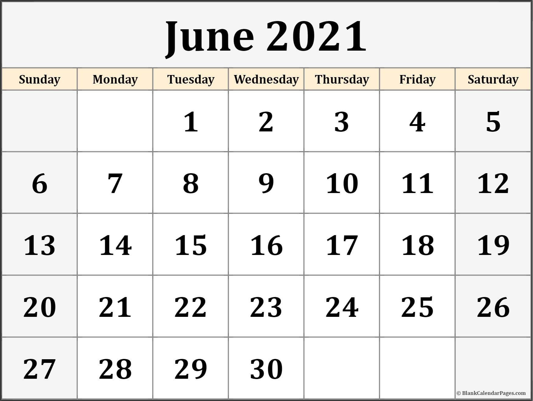 June 2021 Calendar | Free Printable Monthly Calendars Image Of Month Calendar