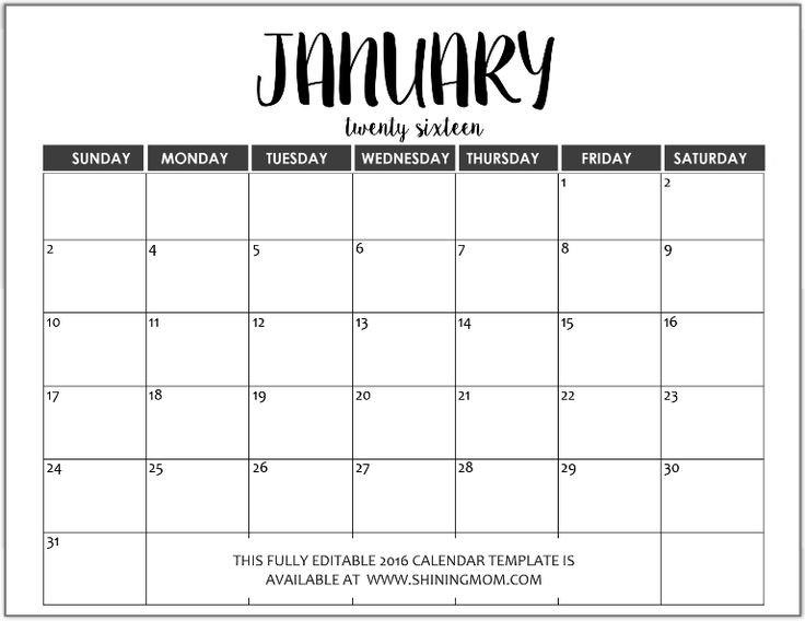 Just In: Fully Editable 2016 Calendar Templates In Ms Word 1 Week Blank Editable Calendar