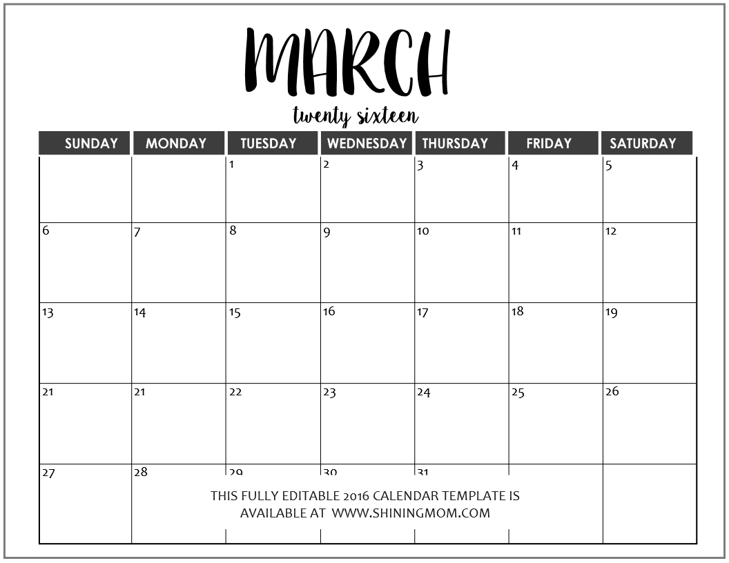 Just In: Fully Editable 2016 Calendar Templates In Ms Word Free Fill In Weekly Schedule