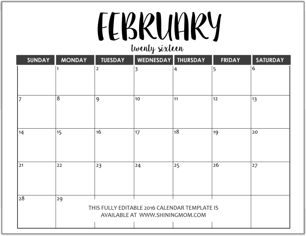 Just In: Fully Editable 2016 Calendar Templates In Ms Word How To Fill In Calendar & Print