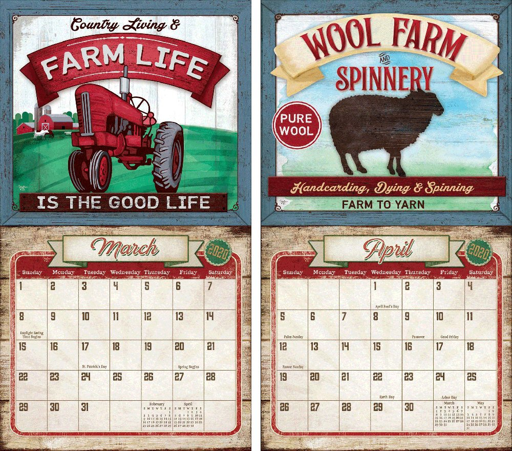 Legacy Farm To Table 2020 Wall Calendar   The Lang Store Wooden 3 Month Calendar Frame