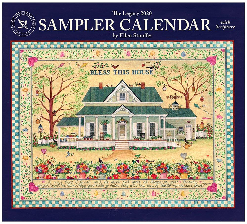 Legacy Sampler Calendar 2020 Wall Calendar   Artworkcalendars Wooden 3 Month Calendar Frame