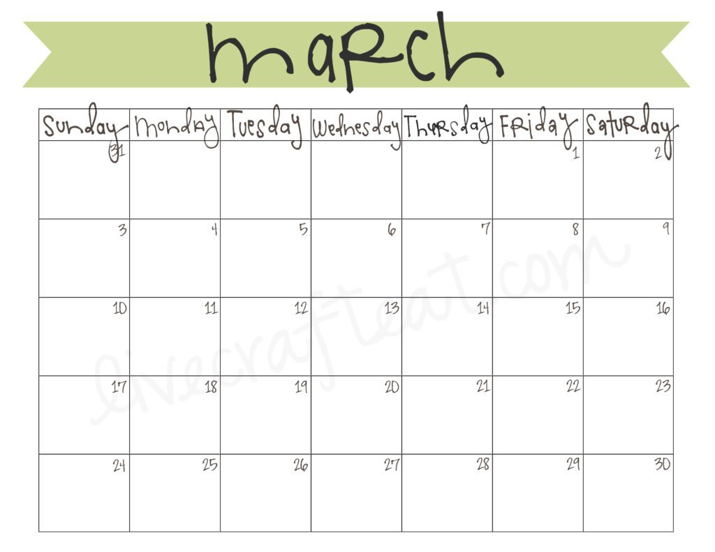 March 2013 Calendar – Free Printable | Live Craft Eat Calendar To Fill In And Print