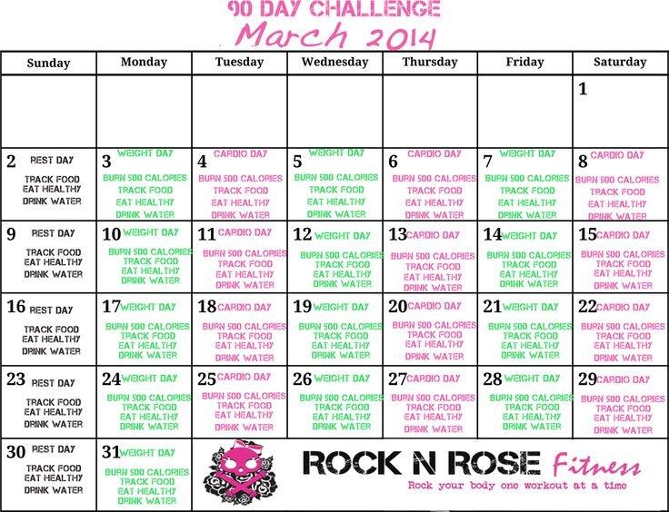 March 2014 90 Day Challenge Calendar   90 Day Challenge 90 Day Meds Calendar