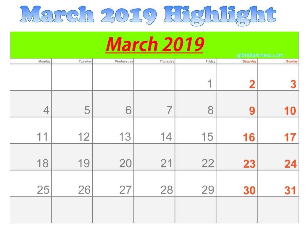 March 2019 Calendar Highlight Sunday Saturday | 2019 Blank Sunday Through Saturday Calendar