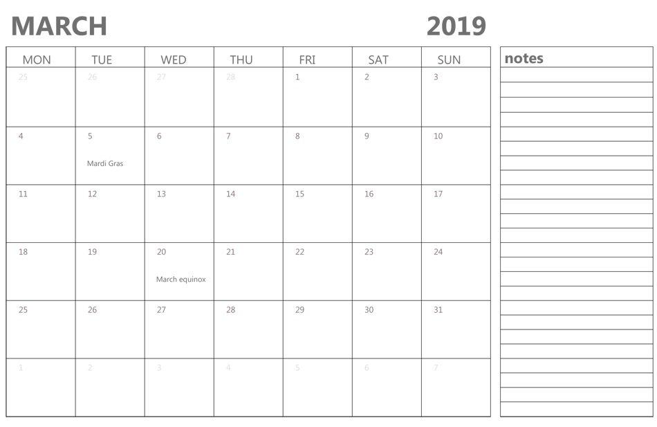 March 2019 Calendar | Latest Calendar Calendar Template With Notes Section