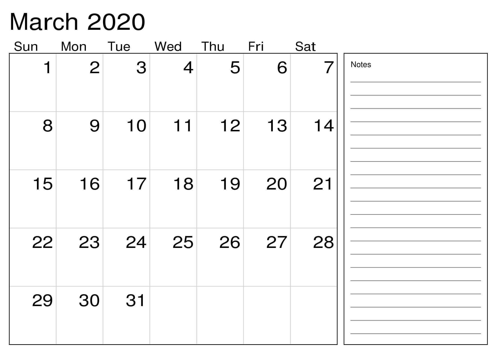 March 2020 Calendar Excel Sheet   Free Printable Calendar 2 Week Activity Calendar Editable