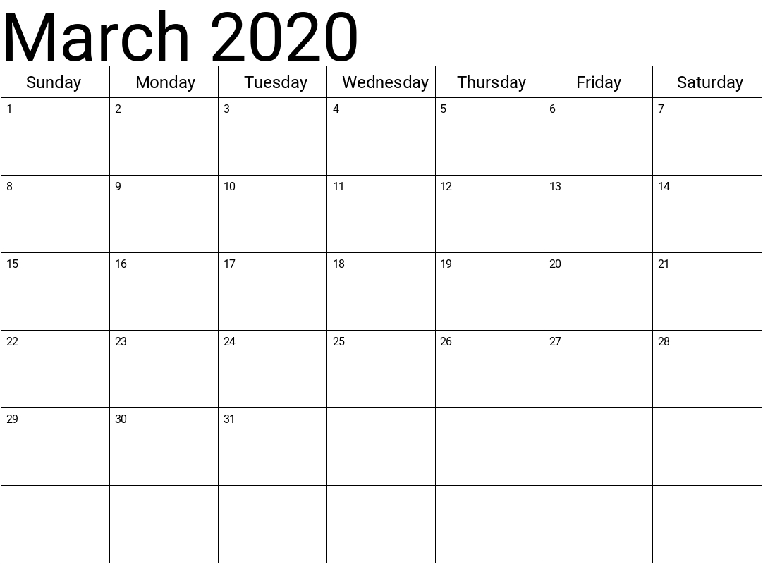 March 2020 Calendar Printable 8 Week Calendar