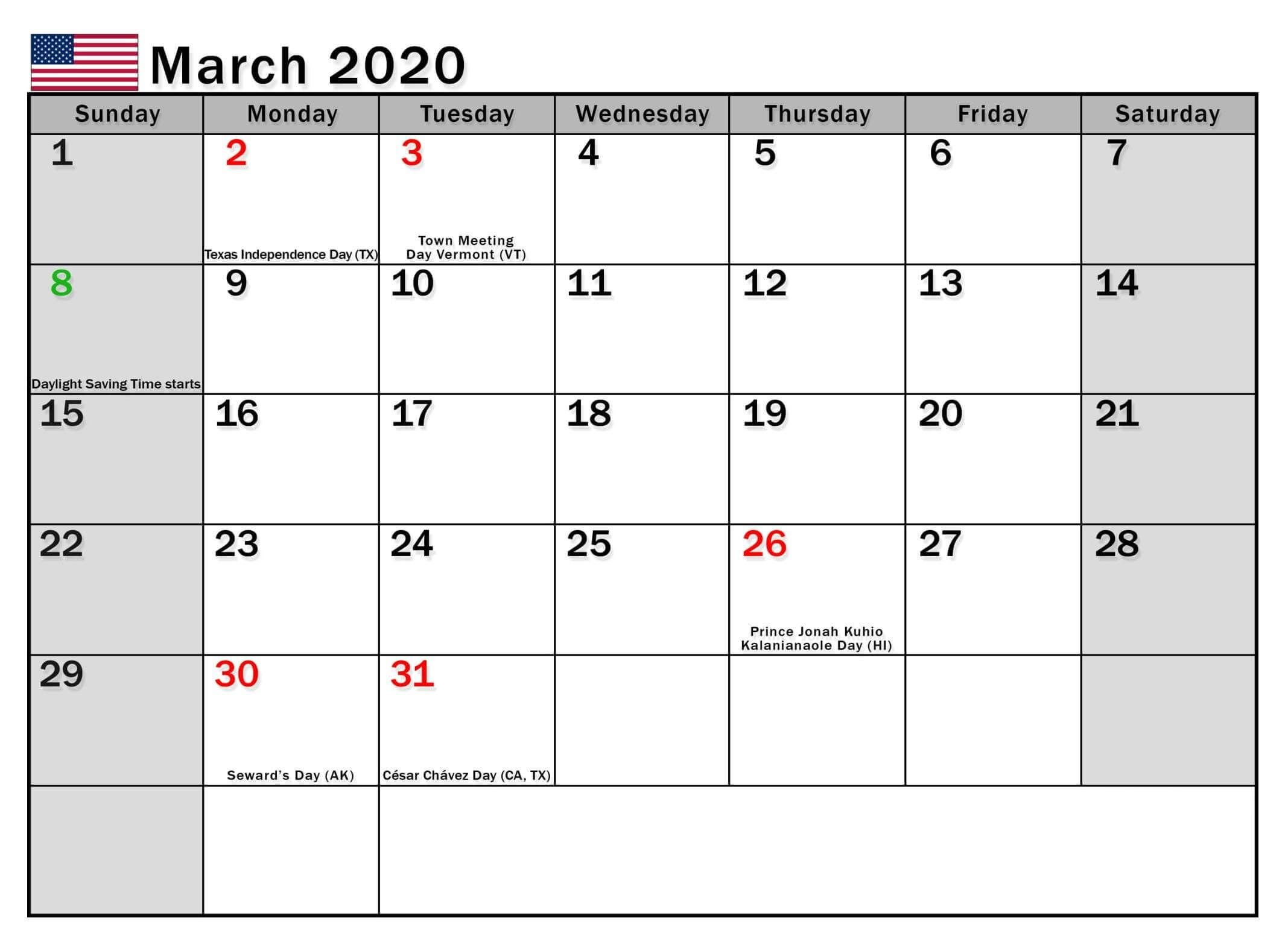March  2020 Calendar Us Bank Holidays In 2020 | Holiday Calendear That I Can Edit With Holidays On It