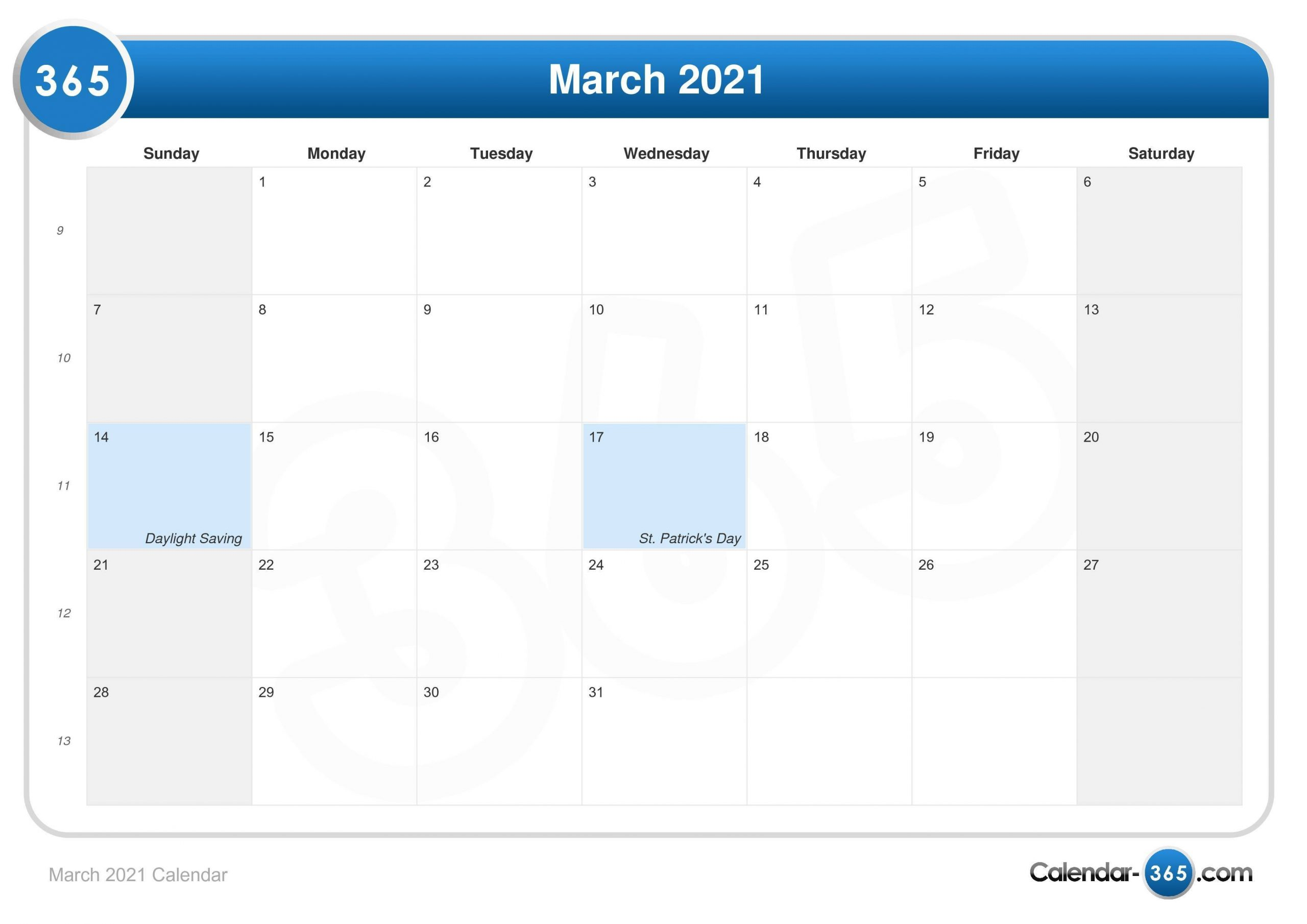 March 2021 Calendar Printable Calendar For The Week Of March 2 Thru March 6