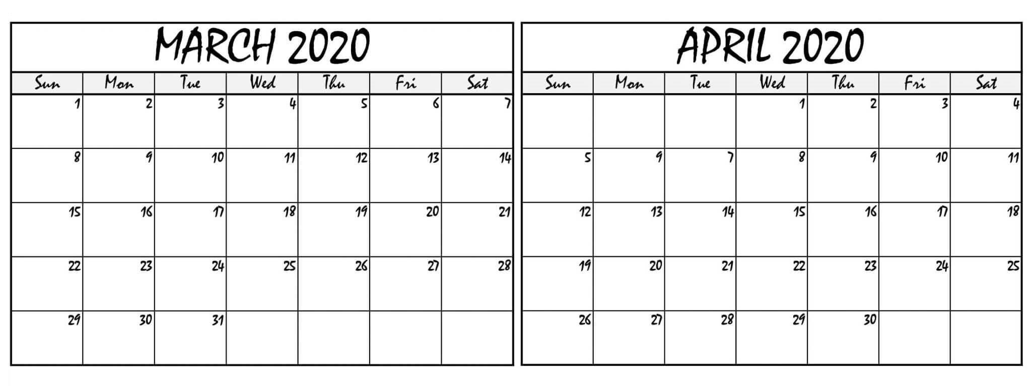 March April 2020 Calendar Pdf With Notes – 2019 Calendars Printable Calendar I Can Edit