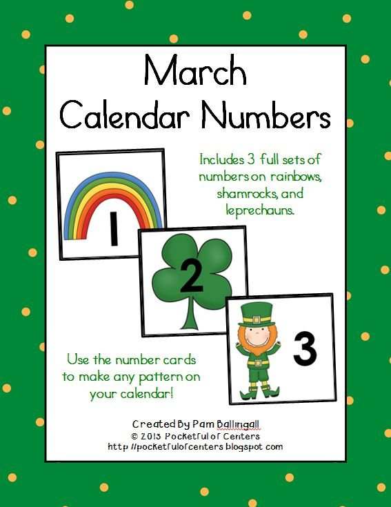 March Calendar Numbers | Calendar Numbers, Calendar Free Calendar With Number Cards