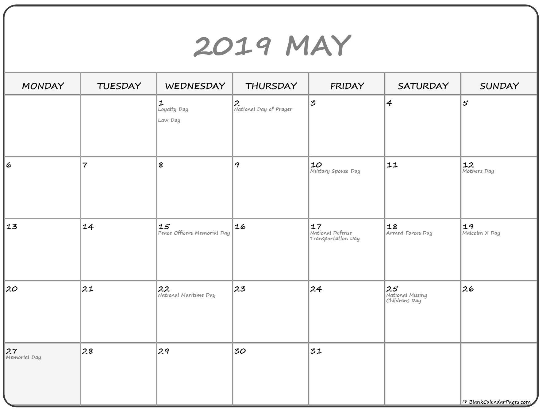 May 2019 Monday Calendar | Monday To Sunday May Calendar Starting On Monday