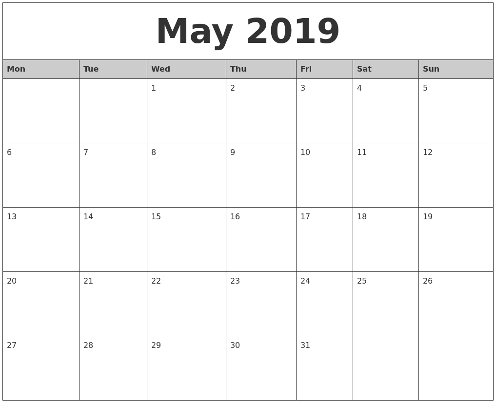 May 2019 Monthly Calendar Printable Blank 30 Day Calendar Starting May 24