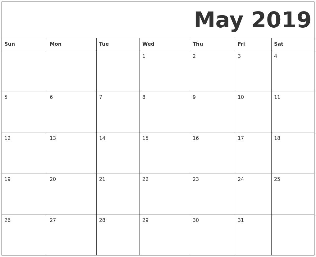 May 2019 Printable Calendar Templates – Free Blank, Pdf Free Blank Printable Monthly Calendar Pdf