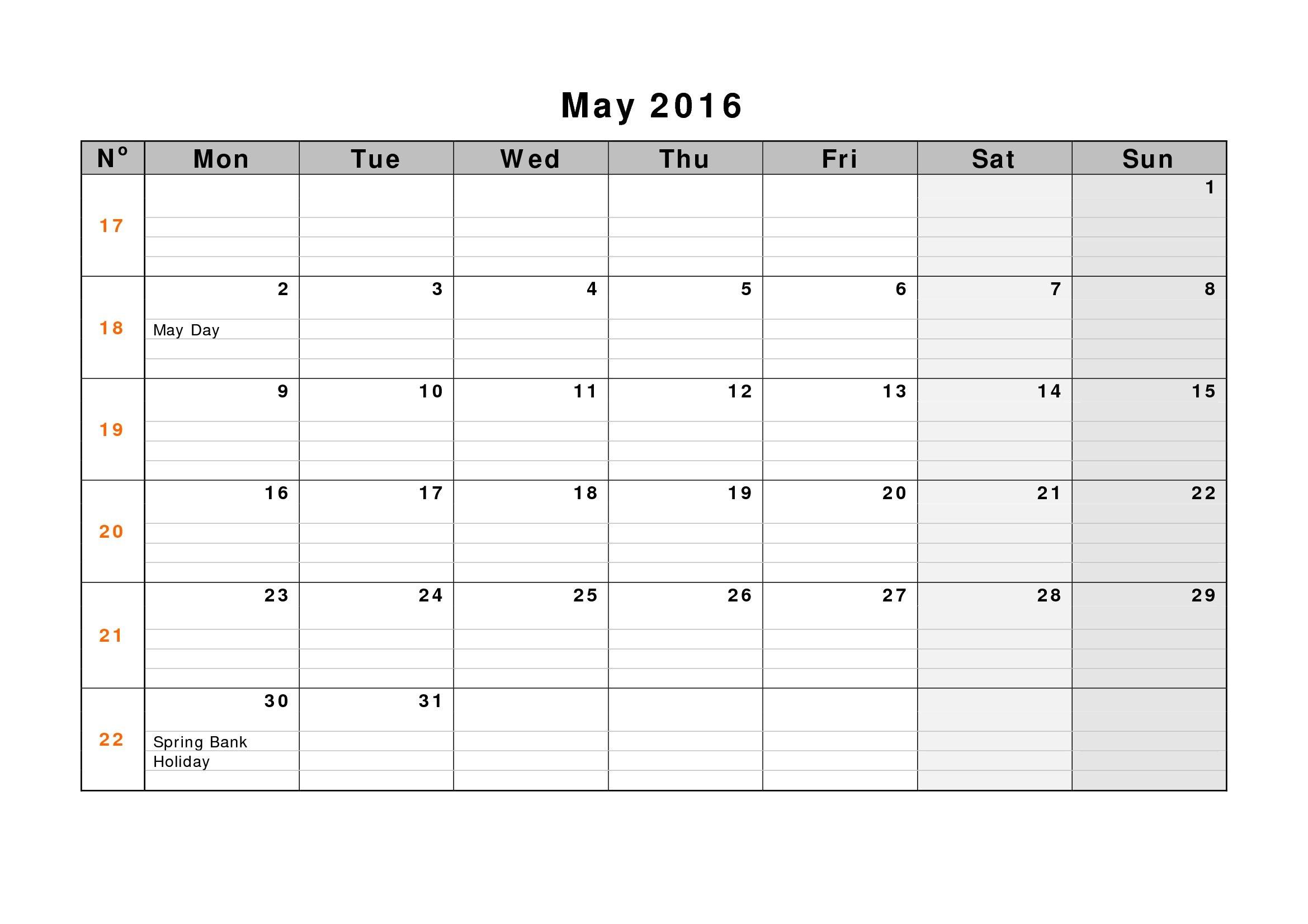 May 2019 Weekly Printable Calendar | Blank Templates One Week Calendar Printable Blank