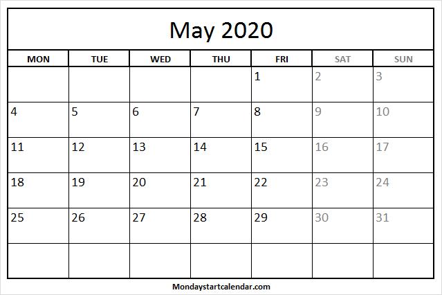 May 2020 Calendar Monday To Friday   Free Holidays Template Mon Fri Calendar Template