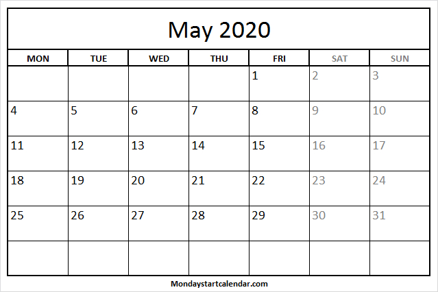 May 2020 Calendar Monday To Friday | Free Holidays Template Mon Fri Monthly Calendar Template