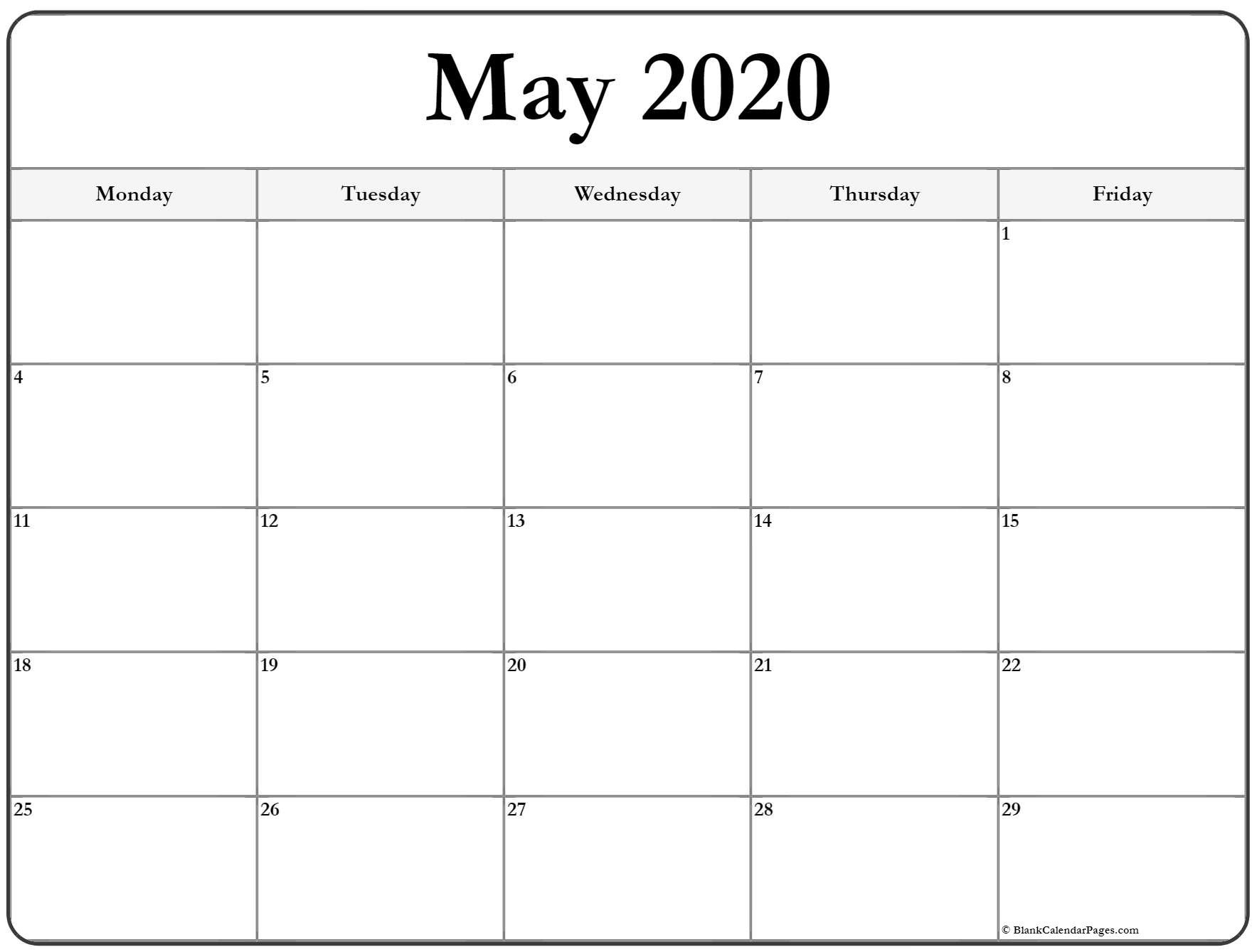 May 2020 Monday Calendar   Monday To Sunday Monday To Friday Planner