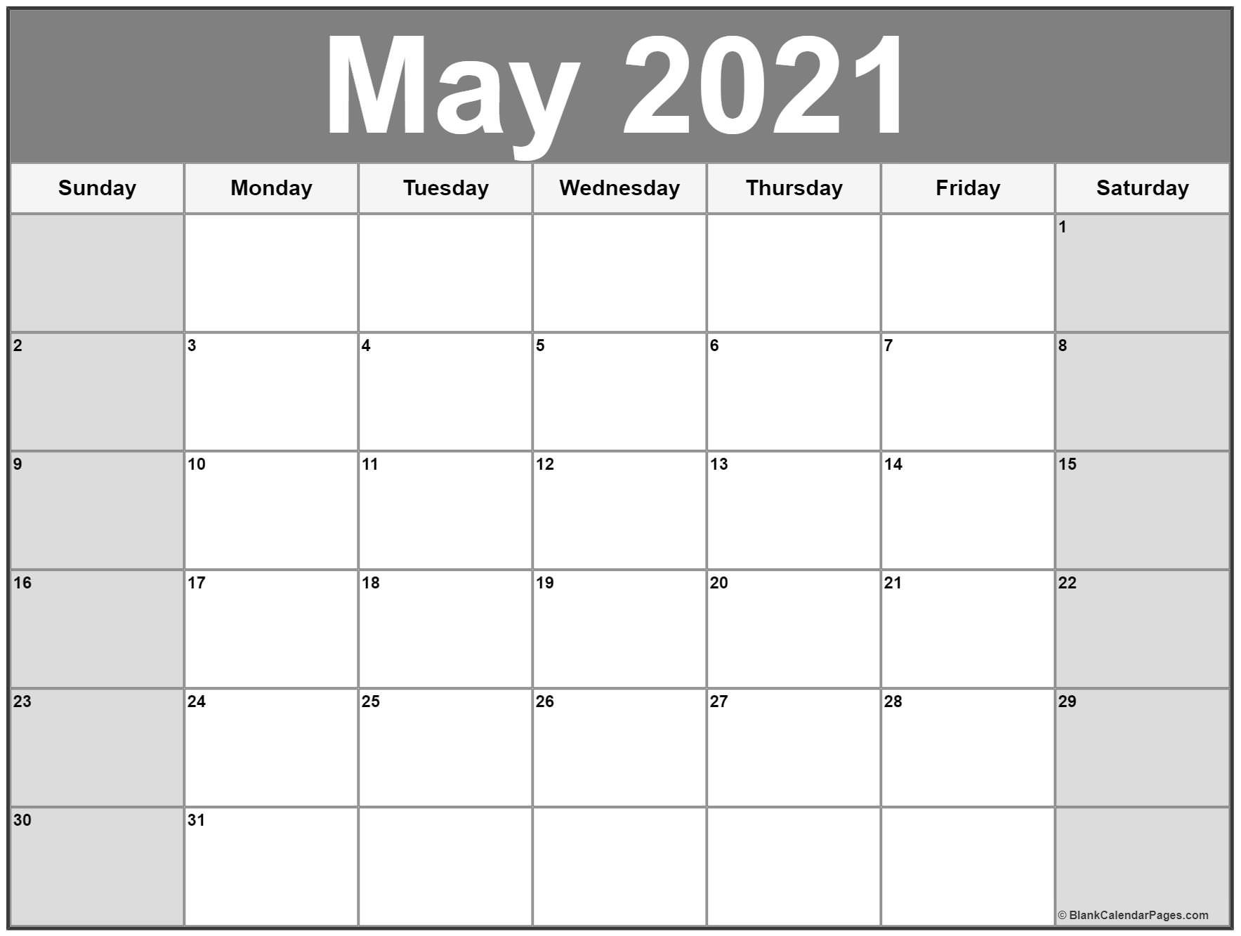 May 2021 Calendar   Free Printable Monthly Calendars Blank 30 Day Calendar Starting May 24