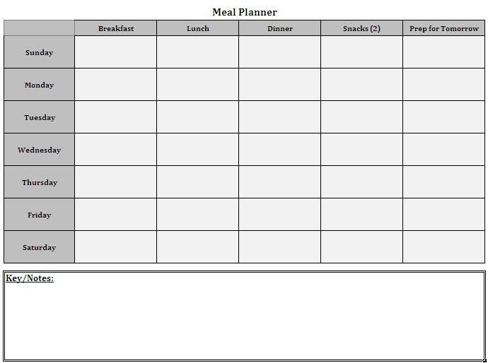 Meal Planner Template   Cyberuse 7 Day Router Blank