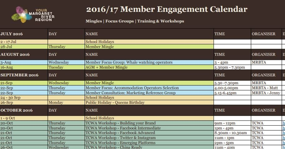 Member Engagement Calendar – Mrbta Content Calendar For Member Newsletters