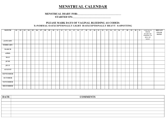 Menstrual Calendar Template Download Printable Pdf Free Printable Menstrual Calendar