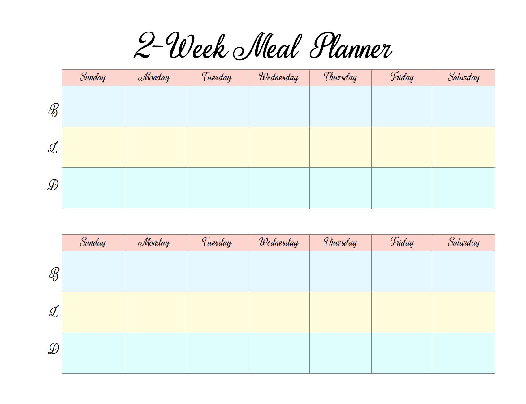 Menu & Grocery Printables | Meal Planner Template, Planner Printable 2 Week Calendar
