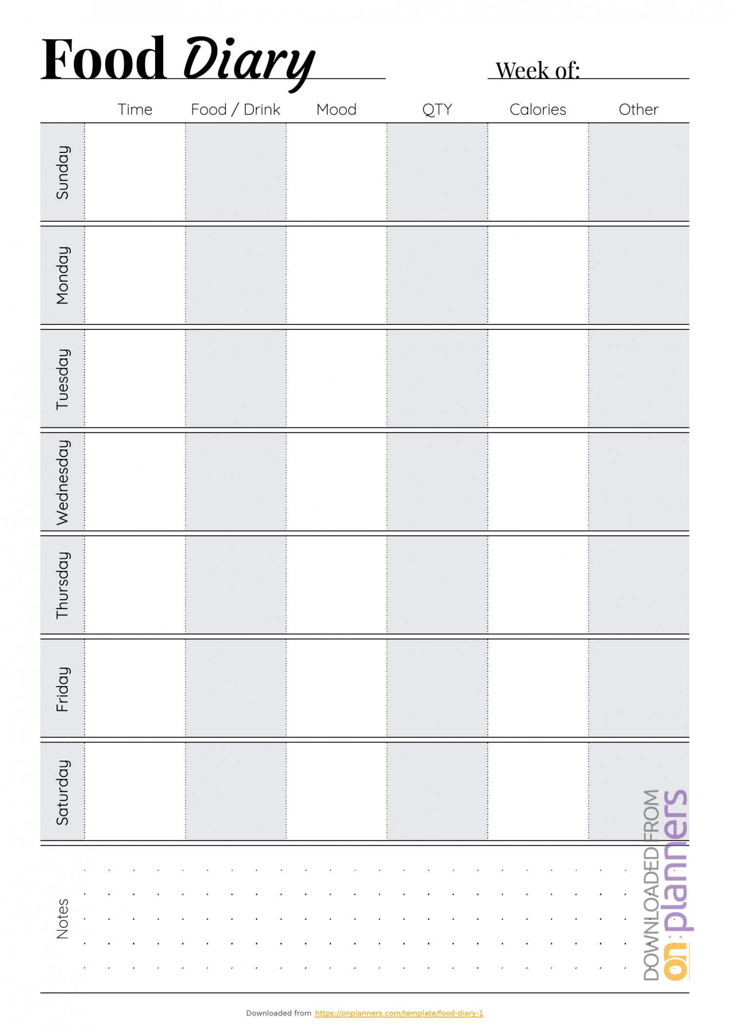 Monday – Friday Diary Template | Calendar Template Printable Download Free Chart For Monday Friday