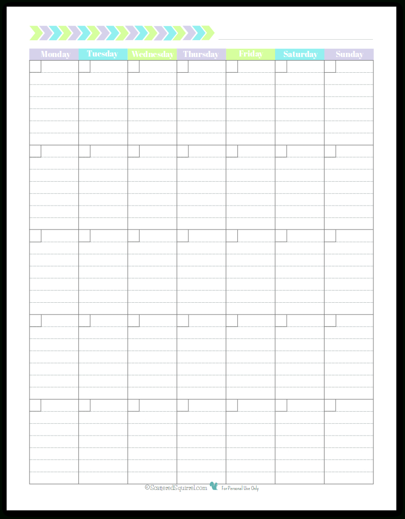 Monday Start Portrait Full Size – Scattered Squirrel Lined Monthly Calendar Free