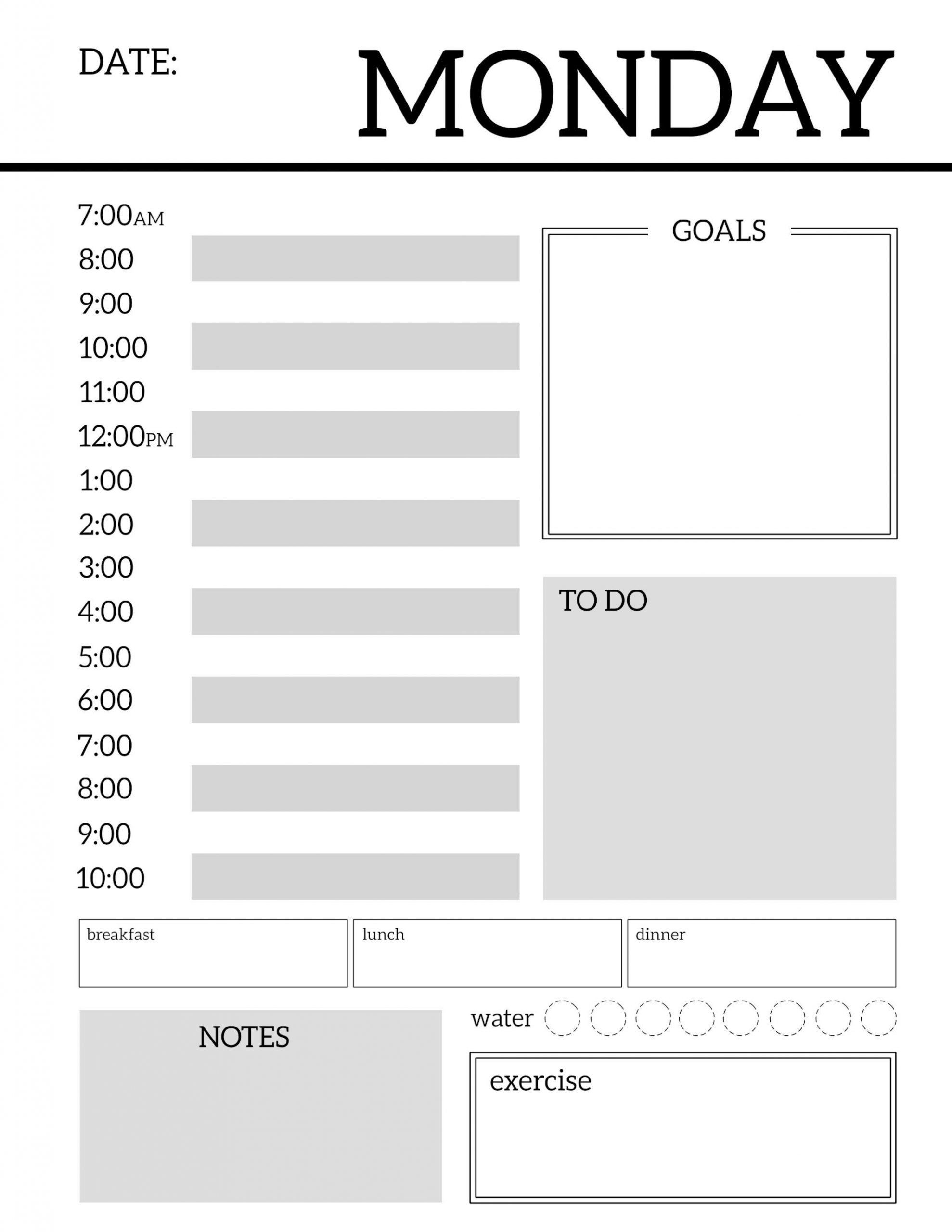 Monday Through Friday Daily Planner – Template Calendar Design Mon Thru Fri Weekly Planner Printable