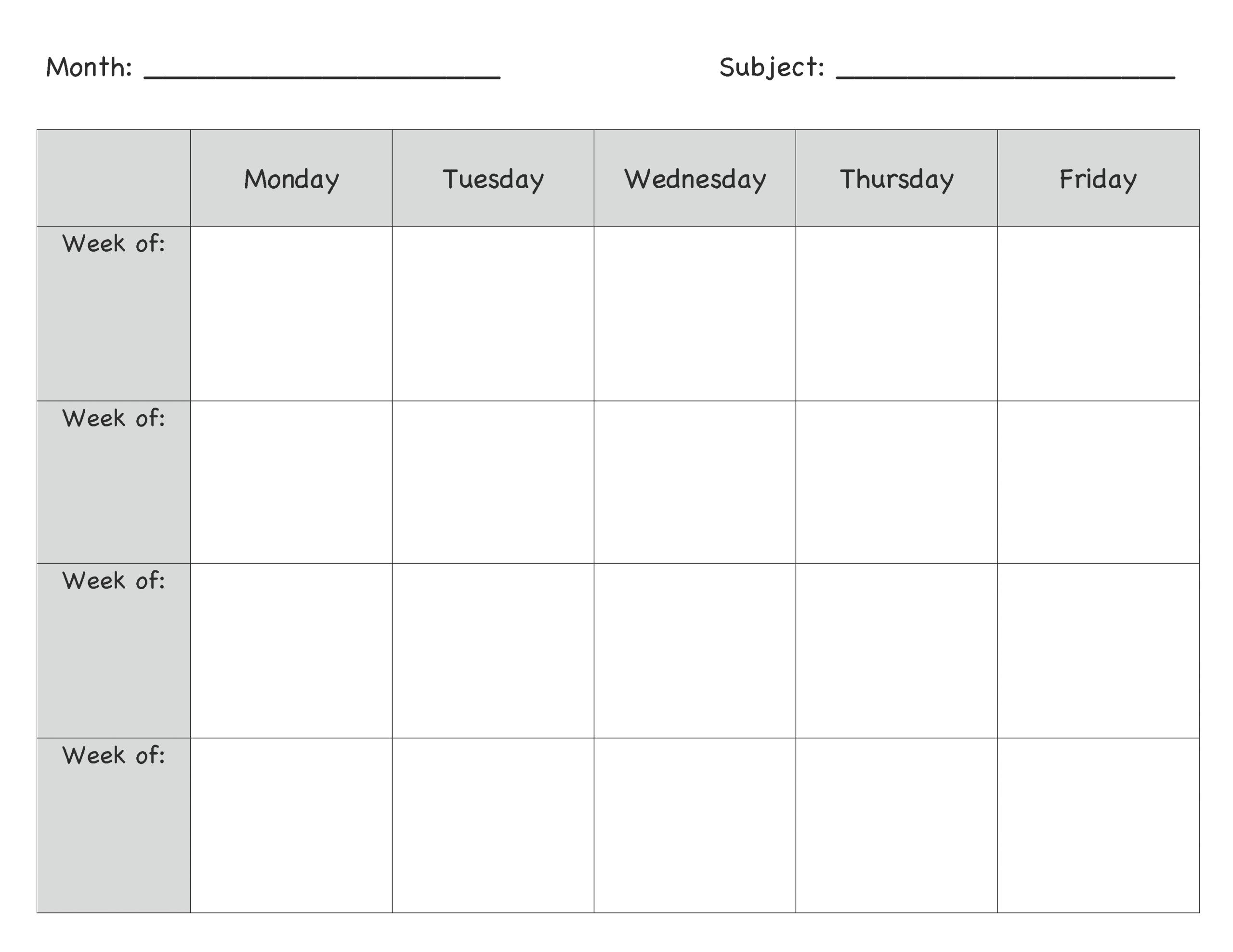 Monday Through Friday Planning Template   Calendar Monday Thru Friday Printable Calendar