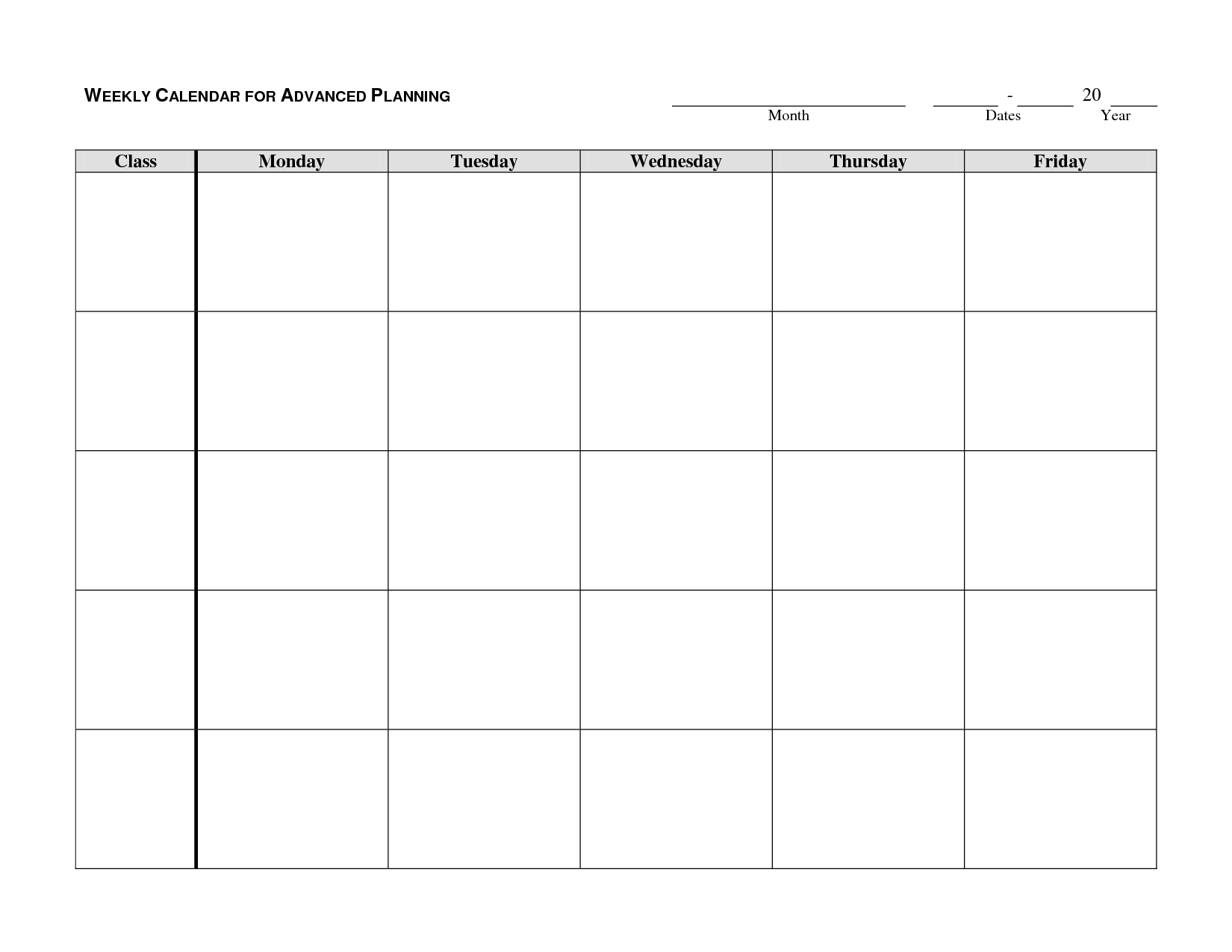 Monday Through Friday Planning Template   Calendar Word Calendar Template Monday Through Friday