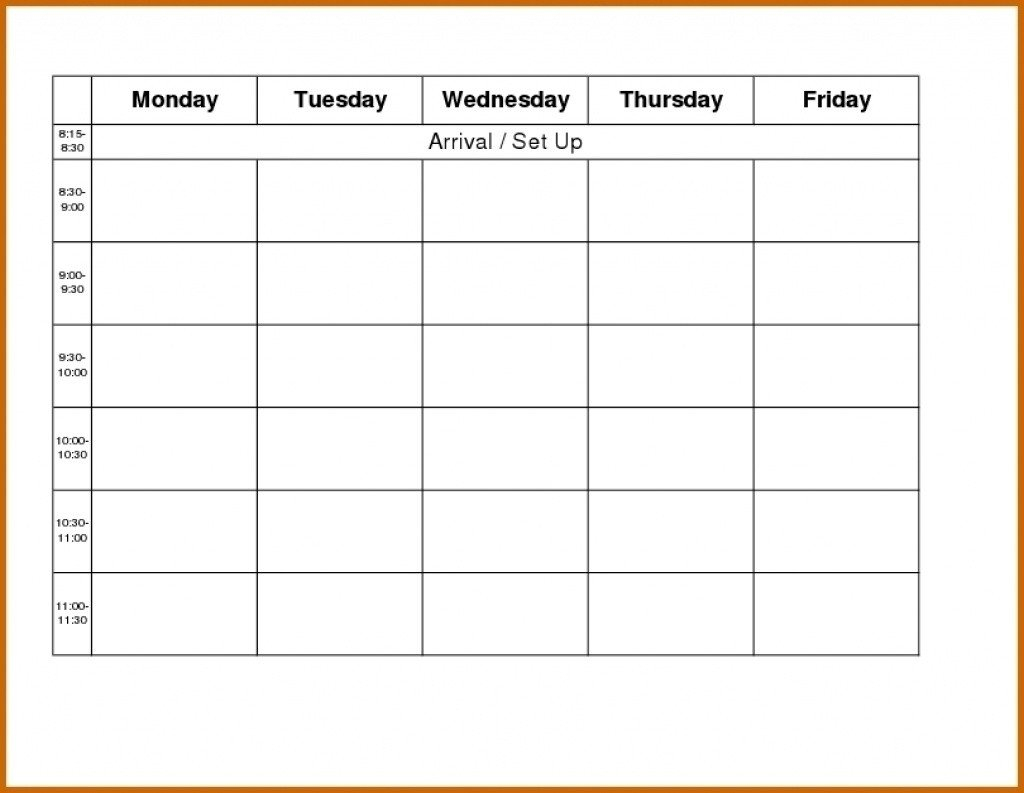 Monday Through Friday Schedule Template   Calendar Monday To Friday Tempate Printable