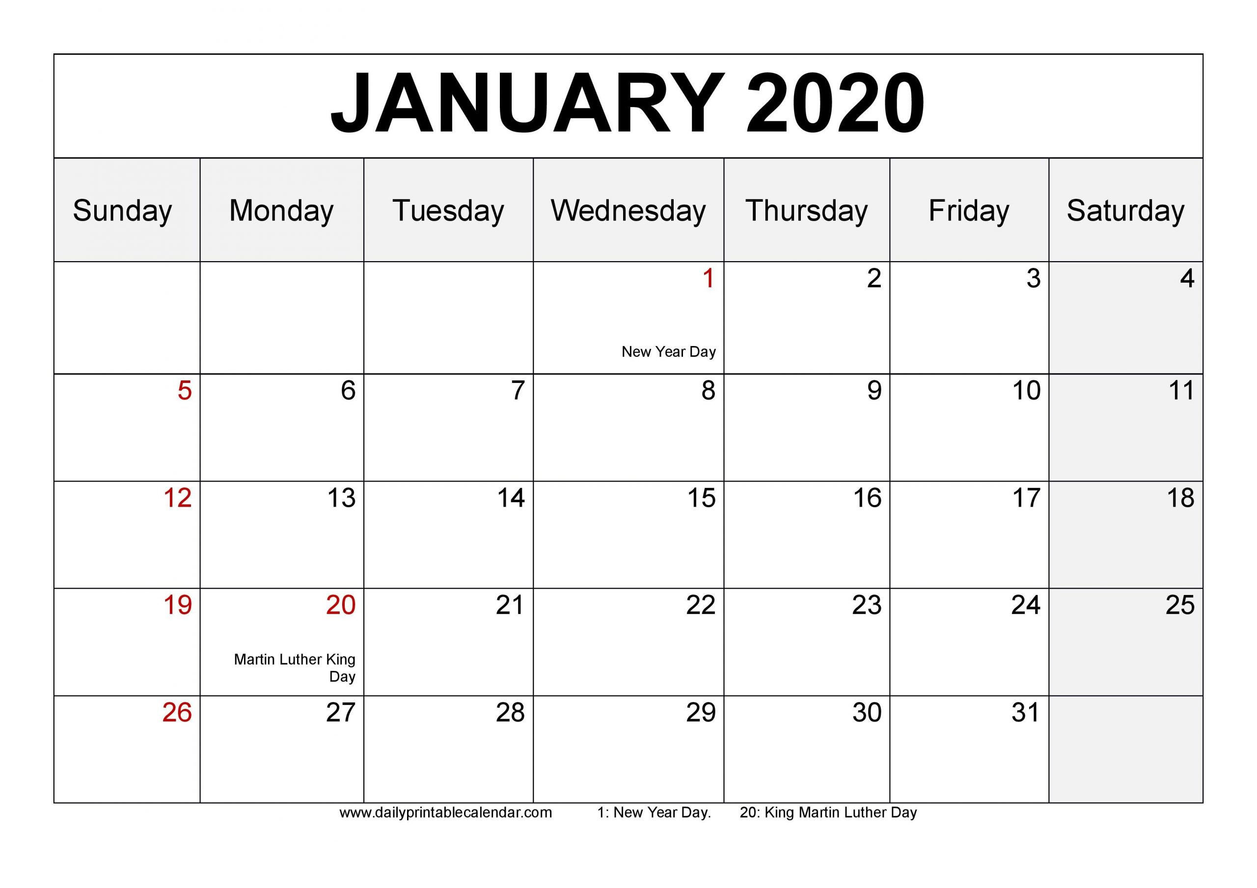 Monday Thru Friday Printable Calendars 2020 Free | Example How To Make A Calendar In Word Monday Through Sunday
