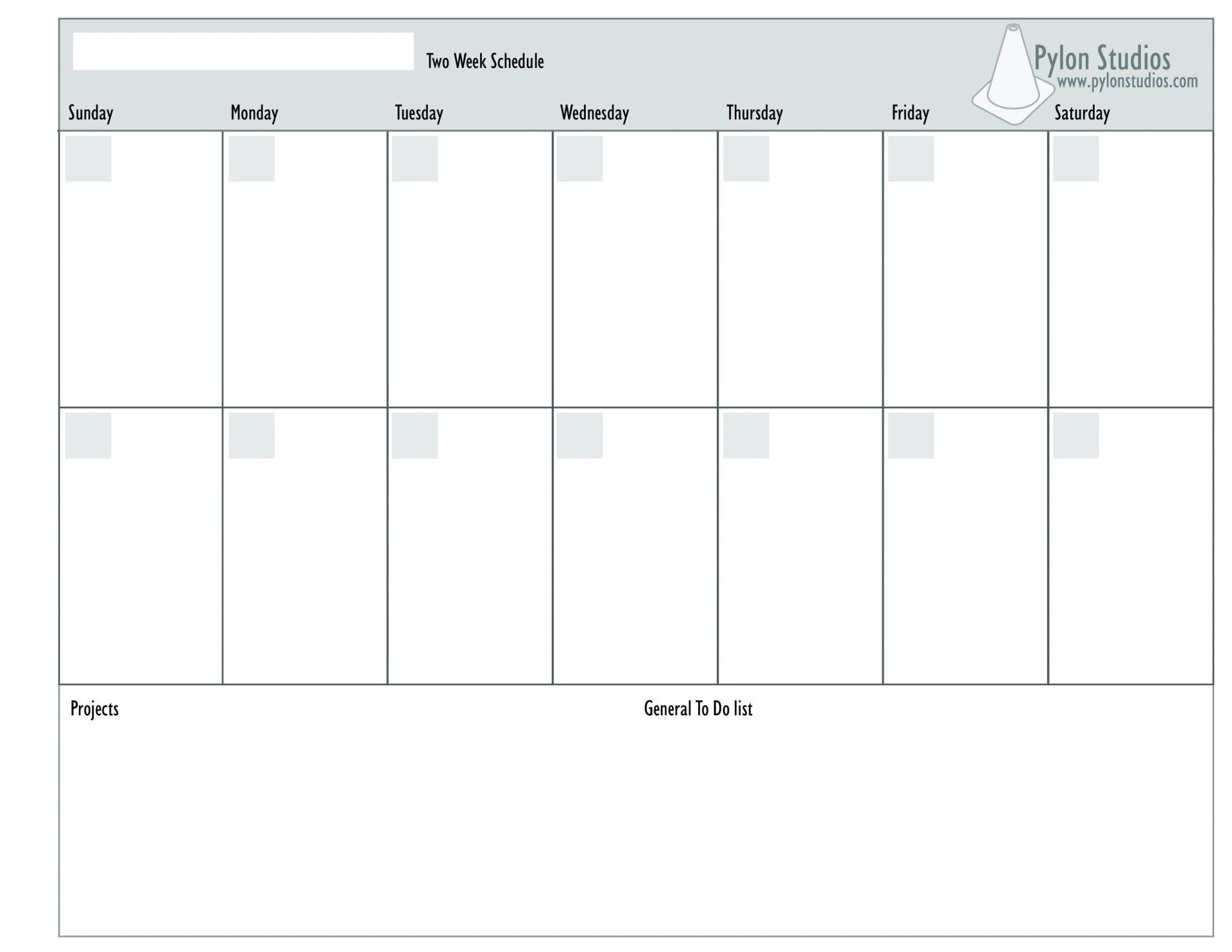 Monday To Friday 2 Week Calendar Template | Calendar Two Week Calendar Template